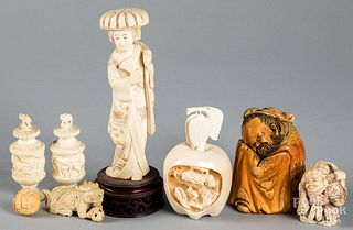 Chinese and Japanese bone carvings