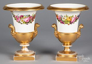 Pair of Tucker style painted porcelain urns