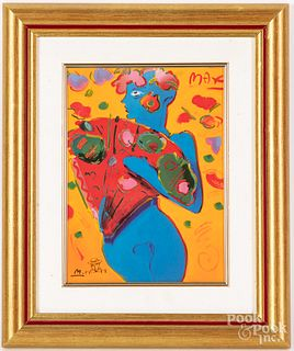 Two Peter Max signed plaques