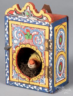 Scandinavian painted bird house, ca. 1900