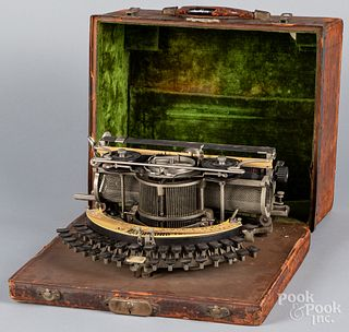 Hammond No.12 typewriter, with tin case