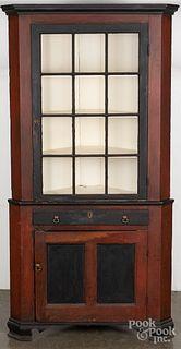 Pennsylvania painted two-part corner cupboard