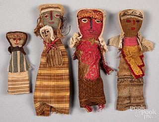 Four Chancay Pre-Columbian burial dolls