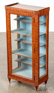 Small mahogany veneer display cabinet, 19th c., 3