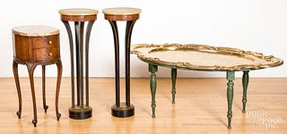 Decorative furnishings, to include a brass top co