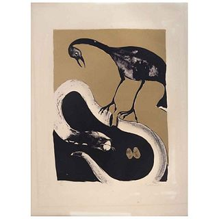 "FRANCISCO TOLEDO, Grulla y Serpiente, ca. 1980, Signed, Lithograph without print number, 14 x 10.1"" (35.6 x 25.8 cm)"