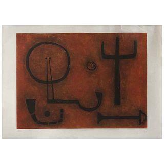 """RUBÉN LEYVA , Cronos, Signed, Aquatint etching a la poupeé 97 / 100, 23.6 x 33"""" (60 x 84 cm), Conservation details"""