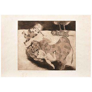 """FRANCISCO TOLEDO, Muerto el animal, 1970, Signed, Etching, Proof of authorship, 9.9 x 11.6"""" (25.3 x 29.7 cm)"""