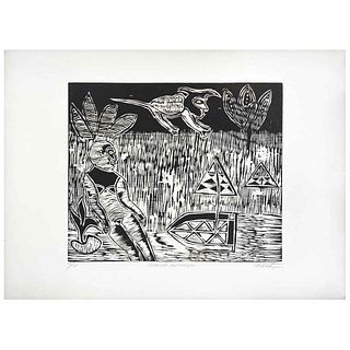 """JESÚS URBIETA, El duende y el Manglar, Signed, Woodcut 25 / 25, 15.3 x 18.7"""" (39 x 47.5 cm)"""