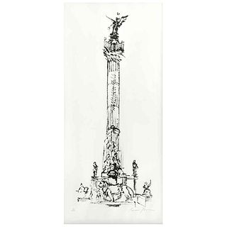 """CARMEN PARRA, Columna del Ángel de la Independencia, Signed, Sugar etching 2 / 30, 34.2 x 23.6"""" (87 x 60 cm), Document"""