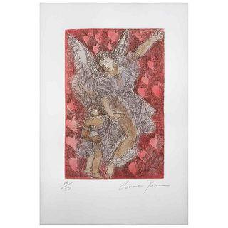 """CARMEN PARRA, Lluvia de corazones, Signed, Etching and aquatint 14 / 50, 18.1 x 13.7"""" (46 x 35 cm), Document"""