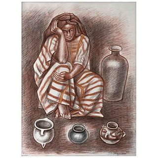 """RAÚL ANGUIANO, Untitled, Signed and dated 84, Lithograph 98 / 100, 27.5 x 20.4"""" (70 x 52 cm)"""