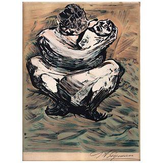 """DAVID ALFARO SIQUEIROS, Madre mexicana, 1973, Signed, Lithograph 24 / 250, 18.1 x 13.7"""" (46 x 35 cm)"""