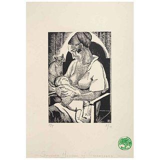 "ANGELINA BELOFF, Maternidad, Signed on plate, Woodcut P / I 3 / 10, 5.9 x 3.9"" (15 x 10 cm)"