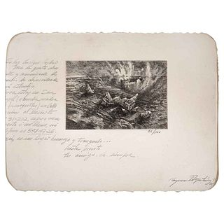 "RAYMUNDO MARTÍNEZ, Untitled, Signed and dated 76, Burin engraving 56 / 200, 3.9 x 5.9"" (10 x 15 cm)"