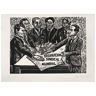 """IGNACIO AGUIRRE, Federación sindical mundial, Signed, Woodcut without print number, 8.6 x 11.6"""" (22 x 29.7 cm)"""
