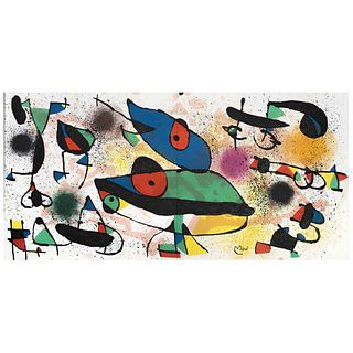 "JOAN MIRÓ, Sculptures II, 1974, Signed on plate, Lithograph without print number, 7 x 22"" (18 x 56 cm)"