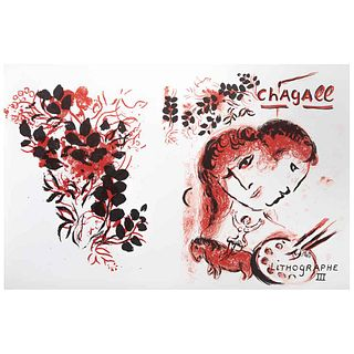 "MARC CHAGALL Lithographe III, Signed on plate, Lithograph without print number, 12.5 x 10.4"" (32 x 52 cm), Document"
