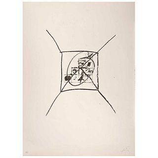 "ANTONI TÁPIES, Llambrec 9, 1975, Signed, Lithograph 25 / 75, 17.3 x 14.9"" (44 x 38 cm) plate measurements"