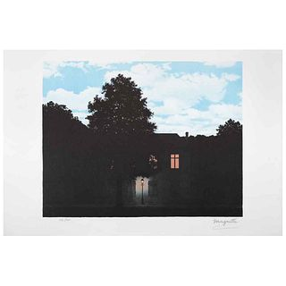 "RENÉ MAGRITTE, L' empire des Lumieres, 1961, Signed with stamp, Lithograph 226 / 300, Posthumous edition, 9.8 x 12.2"" (25 x 31 cm)."