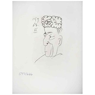 "PABLO PICASSO , III, Le Gout Du Bonheur, Signed and dated on plate 15.9.64, Litografia 597/666, 11 x 4.3"" (28 x 11 cm), Document"