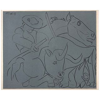 "PABLO PICASSO, La Pique Cassee, Unsigned, Linocut from an edition of 520, 10.6 x 12.5"" (27 x 32 cm)"