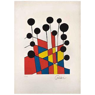 "ALEXANDER CALDER, Colour Fields, 1974, Spurious signature, Lithograph E.A., 12.2 x 9.4"" (31 x 24 cm)"