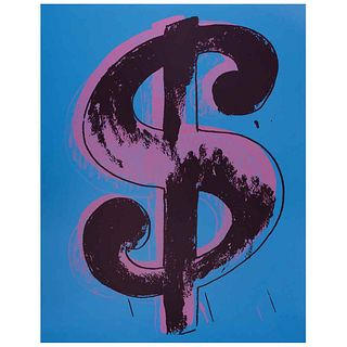 "ANDY WARHOL, Dollar Blue, Stamp on back, Serigraphy 334 / 1000, 19.6 x 15.7"" (50 x 40 cm), Certificate"