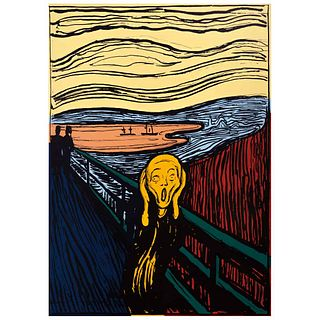 "ANDY WARHOL, IIIA.58 (e): The scream (After Munch), Stamp on back, Serigraphy 206 / 150o, 35.4 x 25.1"" (90 x 64 cm), Certificate"