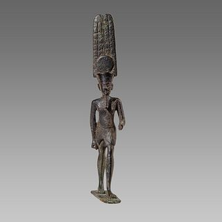 ANCIENT EGYPTIAN BRONZE FIGURE OF AMUN LATE PERIOD CIRCA 664-332 B.C.
