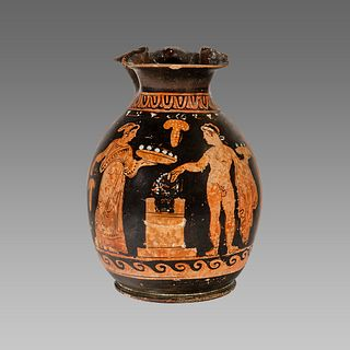 Ancient Greek Apulian Red-figured Trefoil Chous (Jug) c. 350 B.C.