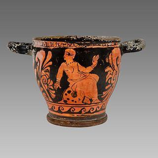Ancient Greek Apulian Red-figured Skyphos c. 350 B.C.