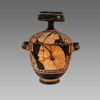 Ancient Greek Sicilian Red-figured Skyphoid Pyxis c. 350 B.C.