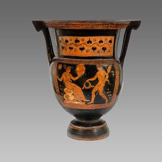 Ancient Apulian Red-figured Column-krater, c. 4th century B.C.