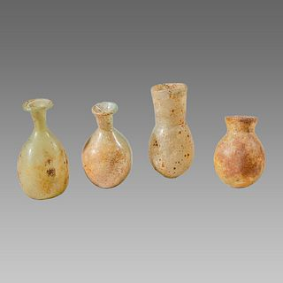 Lot of 4 Ancient Roman Glass Bottles c.2nd-4th century AD.
