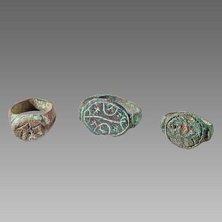 Lot of 3 Ancient Roman Bronze Rings c.2nd century AD.