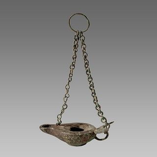 Ancient Roman Bronze Oil Lamp with Chain c.1st-4th century AD.