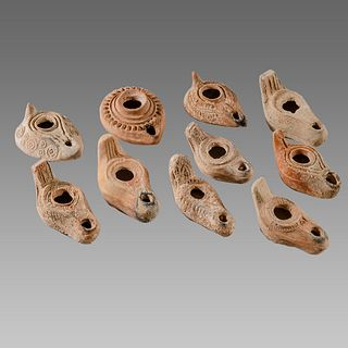 Lot of 10 Ancient Roman, Byzantine Terracotta Oil Lamps c.1st-5th century AD.