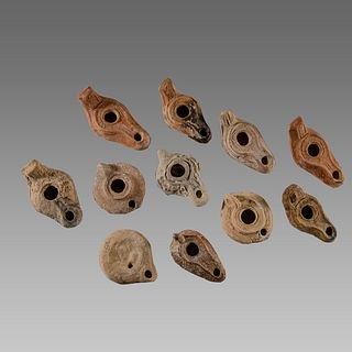 Lot of 11 Ancient Roman, Byzantine Terracotta Oil Lamps c.1st-5th century AD.