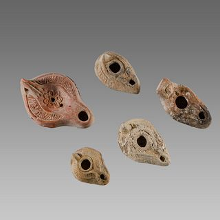 Lot of 5 Ancient Roman, Byzantine Terracotta Oil Lamps c.1st-5th century AD.