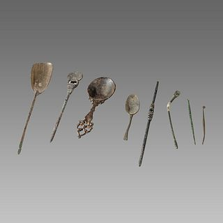 Lot of 8 Ancient Roman/Islamic Bronze Medical Tools c.1st-14th century AD.