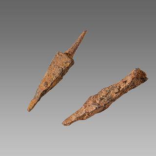 Lot of 2 Iron Arrow heads Spanish c.1212 AD.