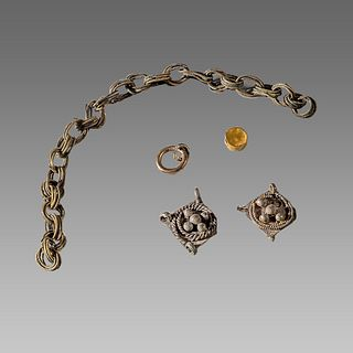 Lot of Ancient Roman/Byzantine Silver chain fragments c.8th-10th cent AD.