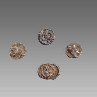 Lot of 4 Ancient Greek Silver Coins obols c.3rd-2nd century BC.