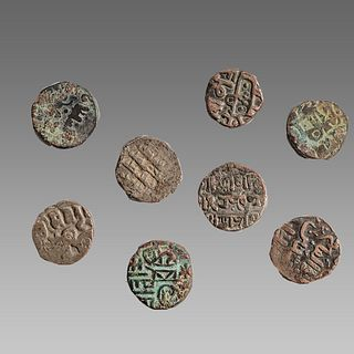 Lot of 8 Ancient Coins - Medieval India Silver Jitals.