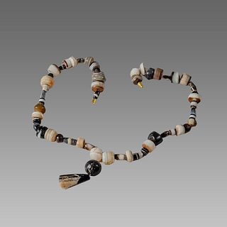 Antique Islamic Banded Agate Bead Necklace.
