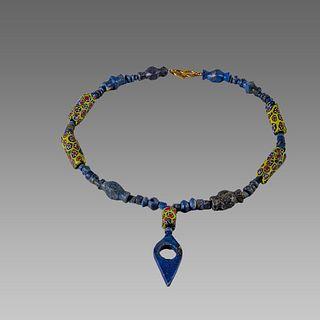 Roman Style Lapis Lazuli, millefiori Bead Necklace.