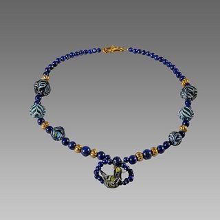 Islamic Style Mosaic, Blue Beads Necklace.