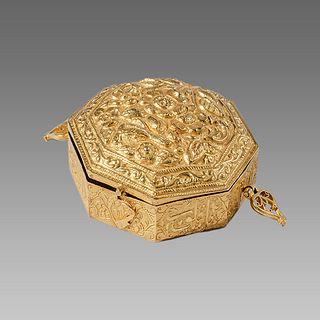 19th century Islamic Persian Qajar Gold Quran Case.