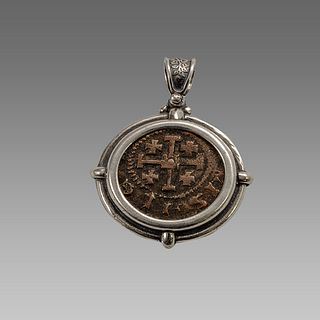 Medieval Crusaders Bronze Coin Set in Silver Pendant.
